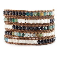 2014 three color agate stones collocation circle bead to deliver leather bracelet of packages, free shipping