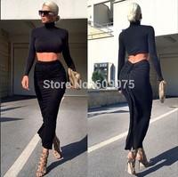 2014 Hot New Style 2 Piece Bandage Bodycon Dress Celebrity Long Sleeve Dress Sexy Club   dresses Black
