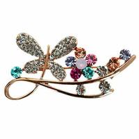 Fashion Crystal Flower Rhinestone Butterfly Brooch
