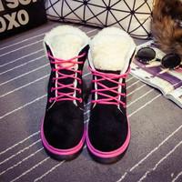2014 new winter velvet cuffs plus Ms. Martin boots female British style single lambs wool boots120905