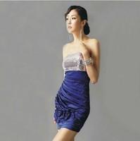 Evening Dress 2015 New Arrival Bride Strapless Sexy Short Blue Sequins Flowers Party Dress Plus Size Formal Dress