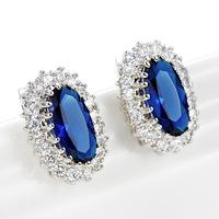 Luxury British Kate Princess Diana William Engagement Wedding Blue Sapphire Stud Earrings Wholesale Egg-Shaped Crown Inlaid