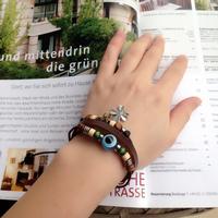 FREE SHIPPING! Cow Leather Turkish evil eye bracelet Lucky eye Kabbalah Jewish Fashion Jewelry Turkey