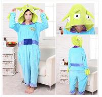 Three Monster Unisex Adults Casual Flannel Hooded Pajamas Cosplay Cartoon Cute Animal Onesies Sleepwear Suit Nightclothes