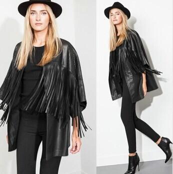 Melinda Style 2014 new women tassel PU jacket fashion outwear women tops free shipping(China (Mainland))