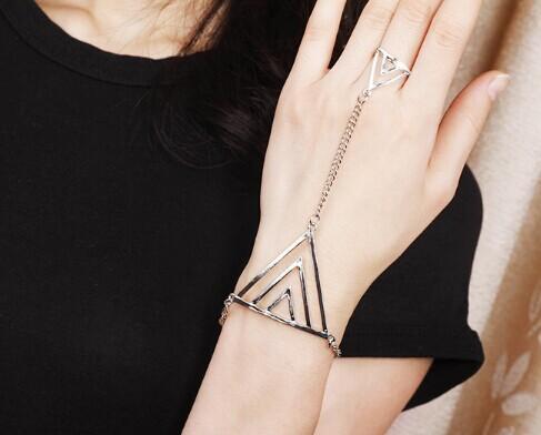 New Fashion Women/Girl's jewelry gifts Geometric hand chain link contact bracelet free shipping B3205(China (Mainland))