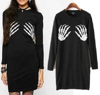 15 spring and autumn new arrival female fashion personality street style pattern print long-sleeve dressslimbasicskirt 14120905