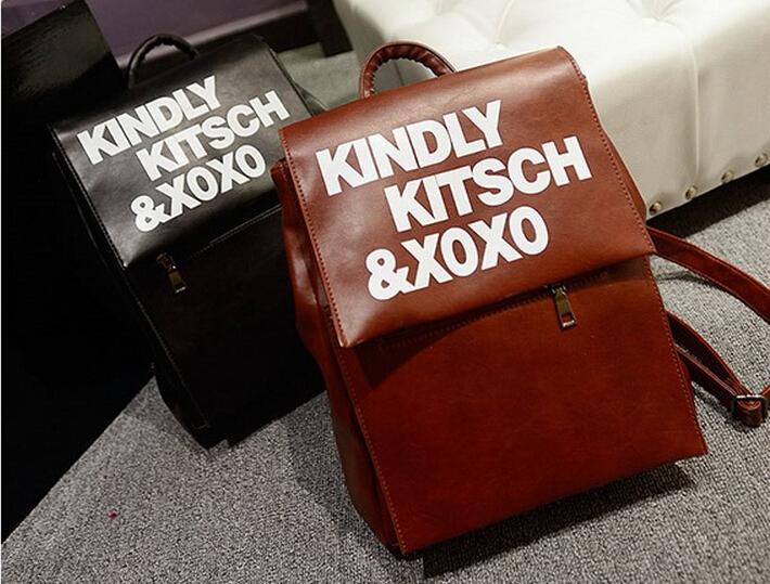 Fashion PU Leather Bag Retro Women Shoulder Bag Print Letter Travel Bag Casual Handbags Free Shipping(China (Mainland))