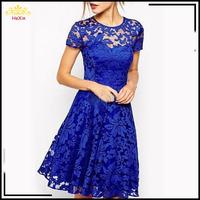 2015 summer new fashion scoop neck cocktail dresses blue dress homecoming dresse temperament lace short-sleeved vestido de festa