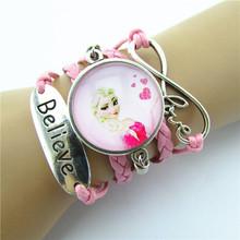 1 Pcs Vintage Snow Queen Antique Glass Charms cartoon Princess Braid Leather Bracelet Wristbands Kids Party Gift c10(China (Mainland))