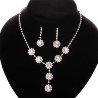 Free shipping! Newest high fashion women jewelry set, Elegant party flower shape crystal jewelry set