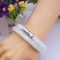 Wholesale Assorted Color 16.5inch Shiny Crystal Mesh Double Wrap Bracelet ,Magnetic Clasp Hip Hop Xmas Gift