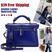New Fashion Cowhide Leather Ladies Bag Shoulder Diagonal Portable Retro Motorcycle Bag Wax leather Woman Handbag