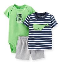 Carters Baby Boys Girls Clothings Sets,Carters Baby Models (Bodysuit+Short+Bodysuit)3pcs Set, Whale Patter,Sky Blue,Freeshipping