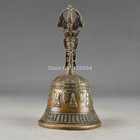 BRASS HANDWORK HAMMERED EXORCISM STATUE SUPERB BELL DECORATION silver Gift Antique Copper Bronze