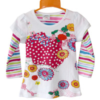 On Sale Ajiduo New Fashion Girls Floral T Shirt Long Sleeve Stripe Children Tops For Girls Casual Cotton Kids Clothes Wholesale