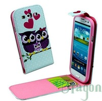 1pcs Owl Wolf Tiger Rose Flower Dream Catcher Card Slot Flip Open leather bag case skin cover For Samsung Galaxy S3 III i9300