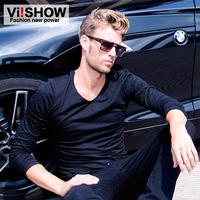 Viishow2014 autumn t-shirt male slim casual fashion men's clothing V-neck men's long-sleeve t shirt male