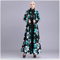 Europe Fashion Women's Extra Long Trench Coat 2014 Winter Elegant Long Sleeve Floral Print Plus Size 3XL Maxi Overcoat Outwear