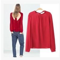 Fashion normic fashion bandeaus racerback chiffon shirt Women pullover long-sleeve slim shirt14120903