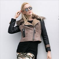 Jacket Leather Women Abrigos Mujer Fur Turn-Down Collar Patchwork Streetwear Punk Winter Coat Motorcycle Jacket Leather & Suede