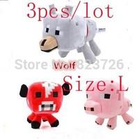 3pcs/lot Free shipping Baby doll minecraft toys plush doll Genuine JJ dolls Wolf & Bat  G-874321