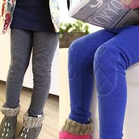 2014 female child legging plus velvet thickening slim elastic pencil pants children's child clothing patch long trousers