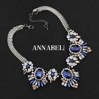 Hot sale Black/Blue Acrylic Gem Crystal Necklaces & Pendants Flower Collar Statement Necklace 2015 new Women Necklace Jewelry