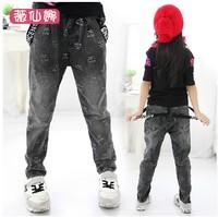 Female child 2014 child doodle bib pants jeans trousers pencil pants