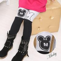 Child cartoon 2014 velvet female child thermal legging elastic long trousers boot cut jeans