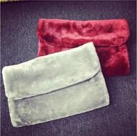 Fashion Winter Women's Clutchbag Fur Day Clutch Soft Fur Mini Evening Bag Free Shipping