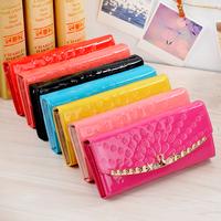 Hot 2014 New Fashion Women's Wallet PU Leather Pearl Slider Women Long Wallet Purse Clutch Wallet Coin Purse Wholesale