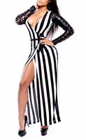 New Arrival Long Sleeve Autumn Womens Dresses ML18240 Deep V Neck Black White Stripe Casual Vestidos Slit Sexy Long Club Dress
