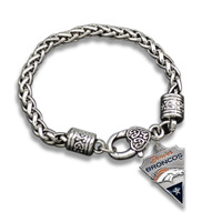 50 Pcs/Lot Antique Silver Plated Geometric Link Chain Denver Broncos Bracelet
