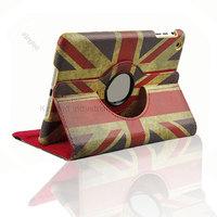 100pcs/Lot For iPad Mini UK National Flag 360 Degrees Rotation Rotary  Leathr Case Cover Stand