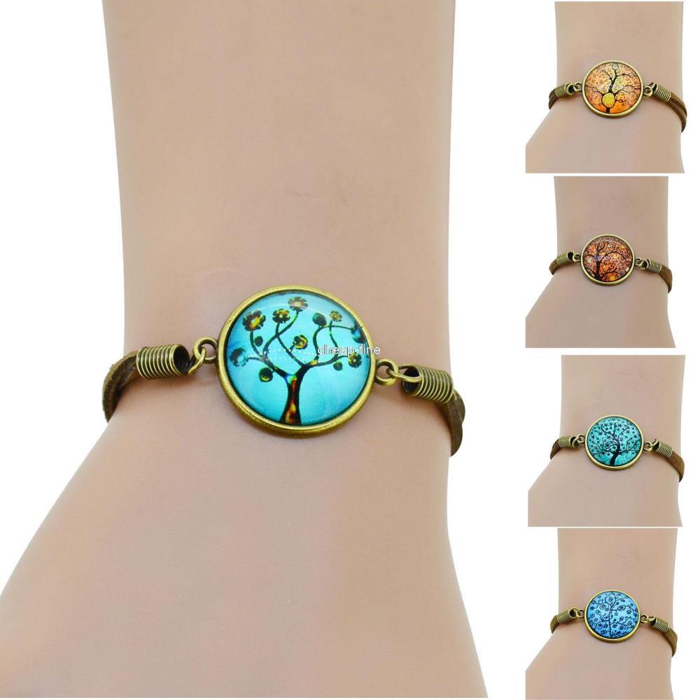 2015 NEW Art Tree Bracelet Lovely Color Glass Dome Rop Chain Bracelet Brown Suede leather Bracelet