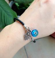 FREE SHIPPING Turkish Blue evil eye with hamsa hand Bracelet Jewelry charm Kabbalah Jewish weave Leather