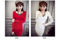 Spring Autumn Long Sleeve Women Knitting Dresses Basic knitted slim one piece mini dress