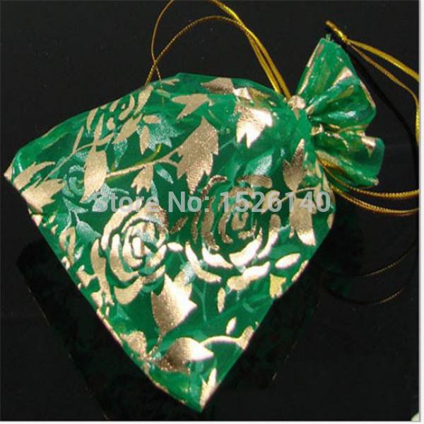 100pcs 9*12cm Green Gilding Rose Organza Green Bags Wedding Gift Bags & Pouches(China (Mainland))