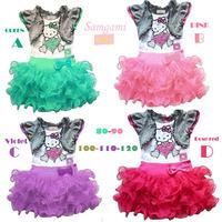 New 2014 very beautiful Girl Dress cartoon hello kitty Princess Dresses Children tutu dress free shipping