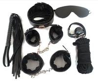 Restraints Black Bondage Set Fetish Collar Whip Rope Ball Mask Handcuff Sex Products