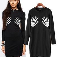 2015 Casual European Style Women Autumn Spring Pencil Dress Mini O-neck Long Sleeve Hand Bone Printing Famous Brand CL2353