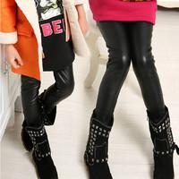 2014 children's clothing female child autumn and winter thickening legging child plus velvet warm pants black family fashion