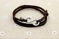 Handmade Leather Silver Infinity Fish Hook Bracelet - Nautical Bracelet, Men's And Women's Bracelet, 6pcs #035