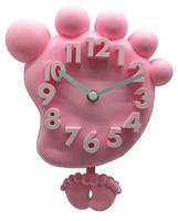 Pink/Blue/Yellow/Green Clock Three-Dimensional Digital Wall Clock Mute Brief Clock Cartoon Feet Clocks CZB4