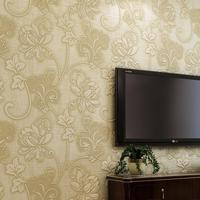 2014 Japanese flower thick non-woven wallpaper bedroom living room TV backdrop 3D flocking green powder