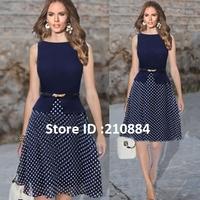 Hot Sell Sexy Plus Size Dress Polka Dot Dress with Belt Women Atacado Roupa Feininas Vestido Causal Free Shipping