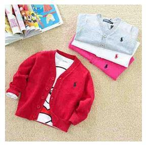Hot noël polo. 2015 l'arrivée de nouveaux pour bébés enfants filles et garçons enfants chandails tricotés 100% coton v- le cou avec le logo de la marque