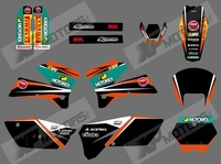 New style (0555  BLACK & ORANGE) TEAM GRAPHICS & BACKGROUNDS DECALS FOR KTM SXF MXC SX EXC 2005 2006 2007