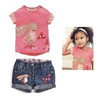 1-St New Fashion Girls Clothing Sets Short Sleeve T-shirt Jeans Pants 2pcs/set Kids Clothes Set Summer Set Sportswear